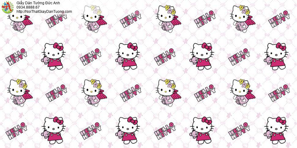 Giấy dán tường hình Hello Kitty màu hồng đẹp, Happy story 6811-1B