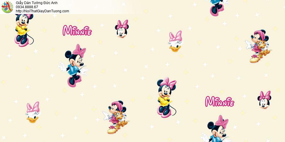 Giấy dán tường hình Minnie Mouse của Disney cho bé, giấy trẻ em màu xanh dương, Happy story 6812-2B