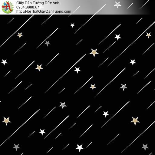 Giấy dán tường hình ngôi sao băng màu đen cho phòng trẻ em, Happy story 6807-3B