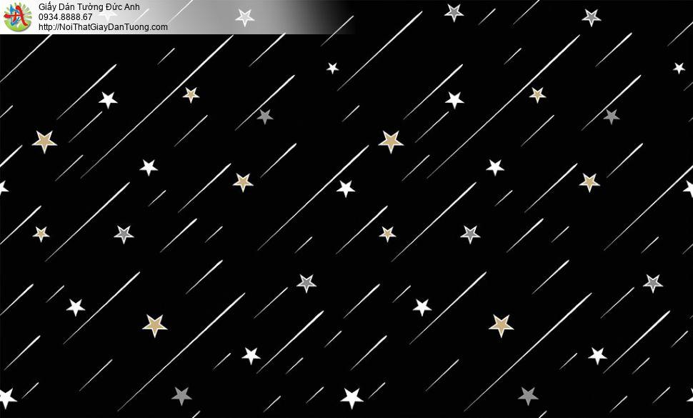 Giấy dán tường hình ngôi sao băng, ngôi sao bay cho phòng bé màu xanh than, Happy story 6807-2B