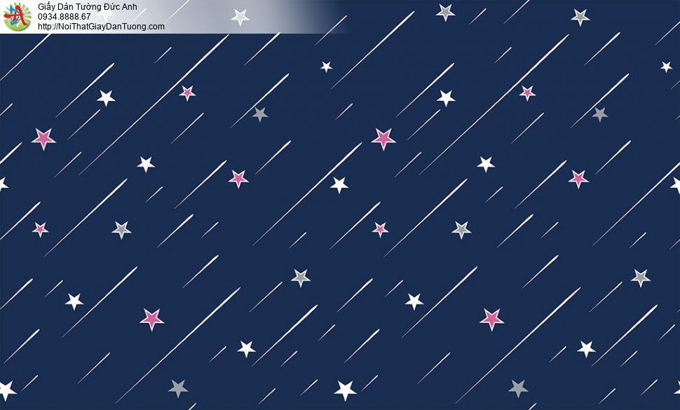 Giấy dán tường hình ngôi sao bằng, ngôi sao bay màu hồng cho trẻ em, Happy story 6807-1B