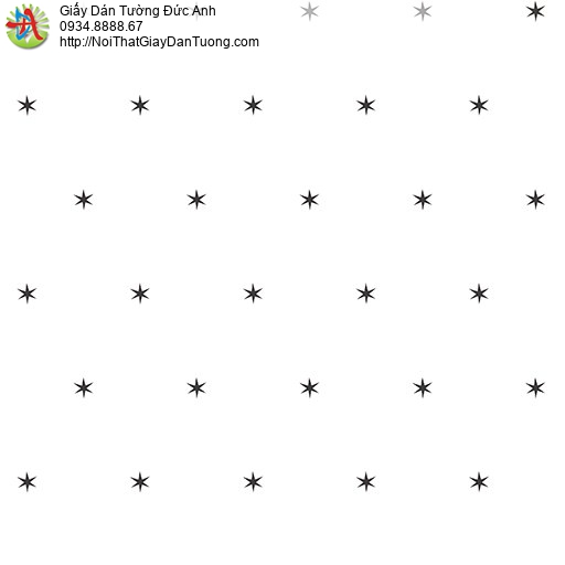 Giấy dán tường hình ngôi sao nhỏ màu đen cho phòng bé, Happy story 6804-2B