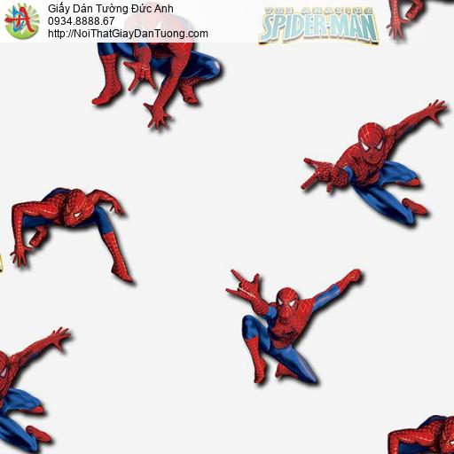 Giấy dán tường hình người nhện Spider-man bay lượn, Giấy dán tường hình siêu anh hùng cho bé Happy story 6813-1B