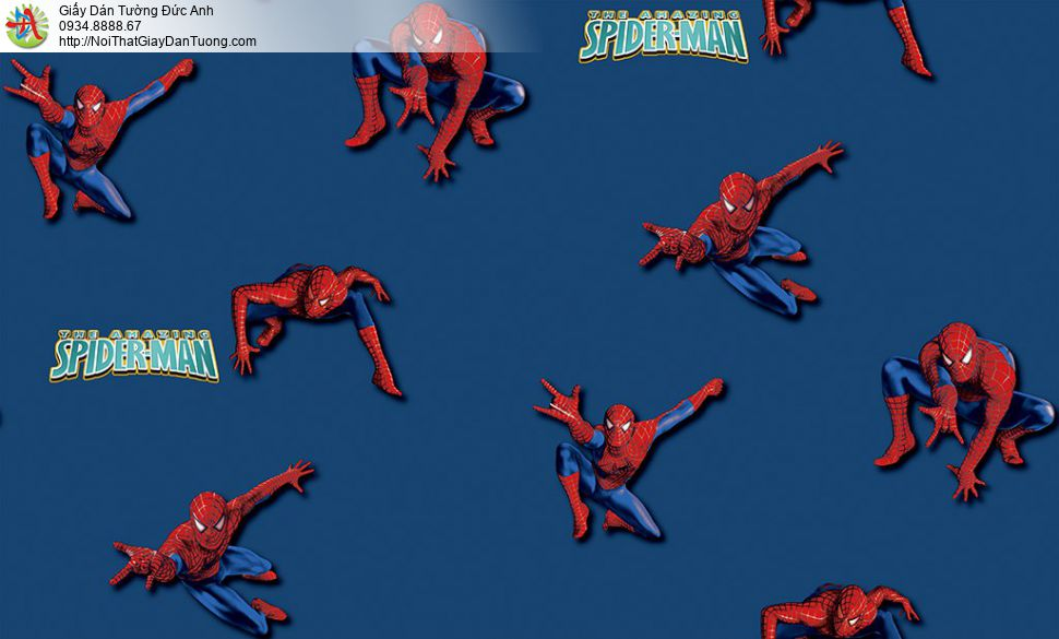 Giấy dán tường hình siêu anh hùng Spider-man màu xanh dương cho bé trai đẹp, Happy story 6813-2B