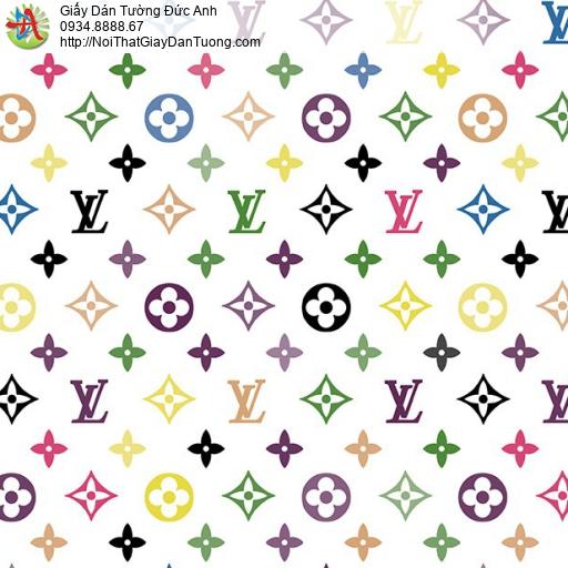 Giấy dán tường hình thương hiệu LV, logo LV đẹp, Happy story 6810-1B