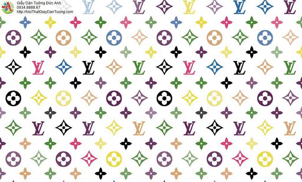 Giấy dán tường hình thương hiệu LV, logo LV đẹp, Happy story 6810-1B, LOUIS VUITTON