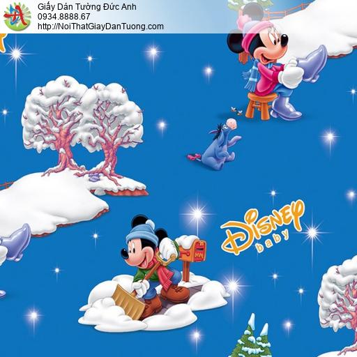 Giấy dán tường hoạt hình Disney Mickey & Minnie màu xanh dương, Happy story 6814-2B