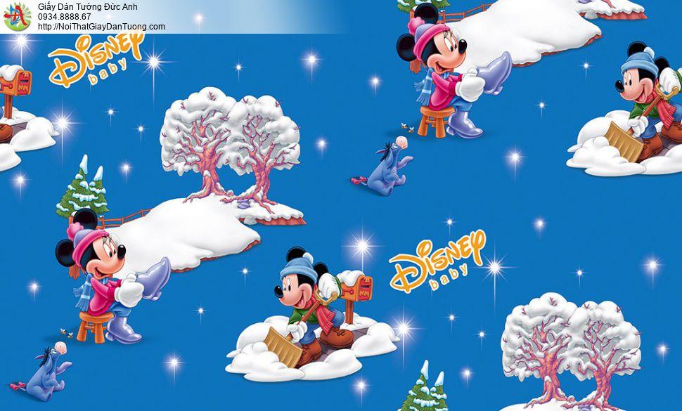 Giấy dán tường trẻ em Disney Mickey & Minnie màu vàng kem, Happy story 6814-1B