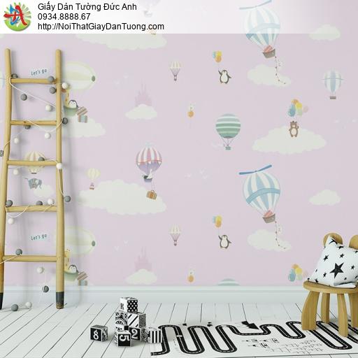 Albany 6825-2, Giấy dán tường trẻ em màu hồng, bầu trời màu hồng mây trắng khinh khí cầu bay