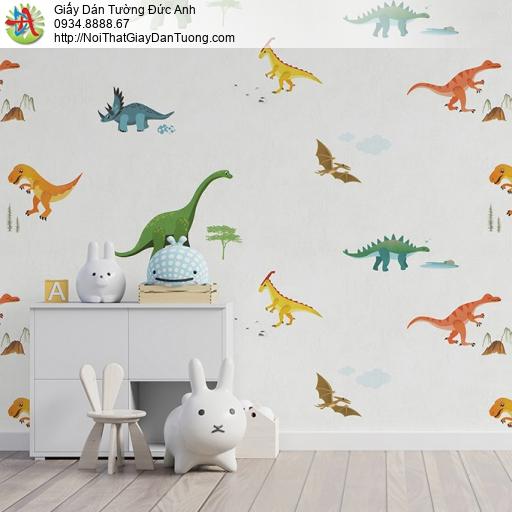 Albany 6826-1, Giấy dán tường dành cho trẻ em, hình các loài khung long cho phòng bé trai cũng như bé gái màu trắng