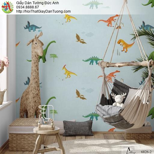 Albany 6826-2, Giấy dán tường hình con khủng long màu xanh cho bé trai và bé gái, giấy dán tường trẻ em