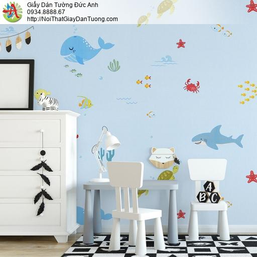 Albany 6827-1, Giấy dán tường hình cá và các động vật dưới biển, đáy đại dương màu xanh biển xanh da trời