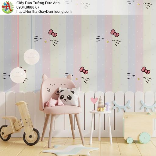 Albany 6828-1, Giấy dán tường kẻ sọc cầu vòng cho bé, giấy hình hello kitty cho trẻ em