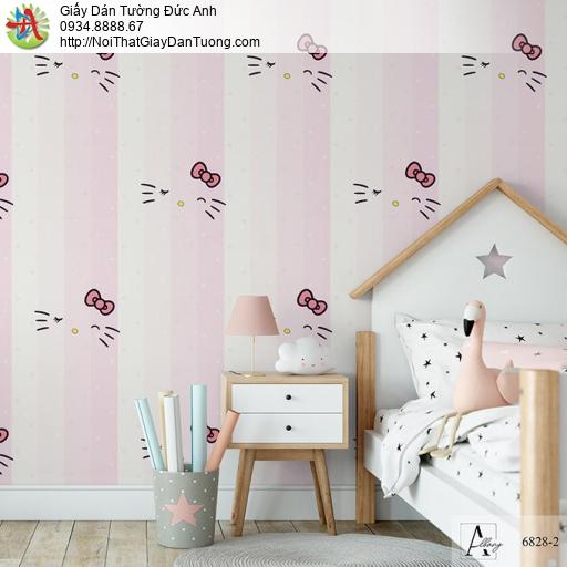 Albany 6828-2, Giấy dán tường hello kitty màu hồng, giấy kẻ sọc cầu vòng dành cho bé yêu