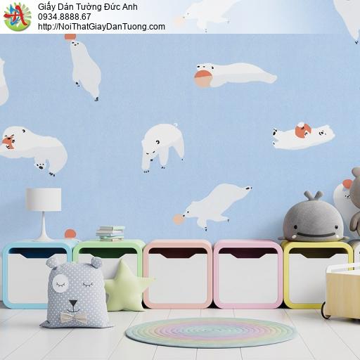 Albany 6830-1, Giấy dán tường cho trẻ em màu xanh, gấu bắc cực chơi đùa với bóng