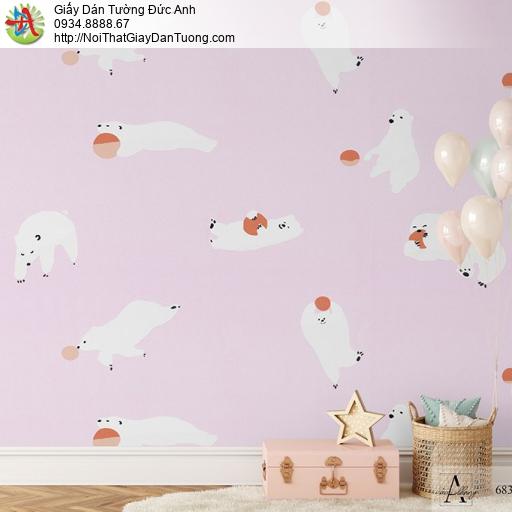 Albany 6830-2, Giấy dán tường trẻ em màu hồng, những chú gấu trắng Bắc Cực đùa vui với trái bóng