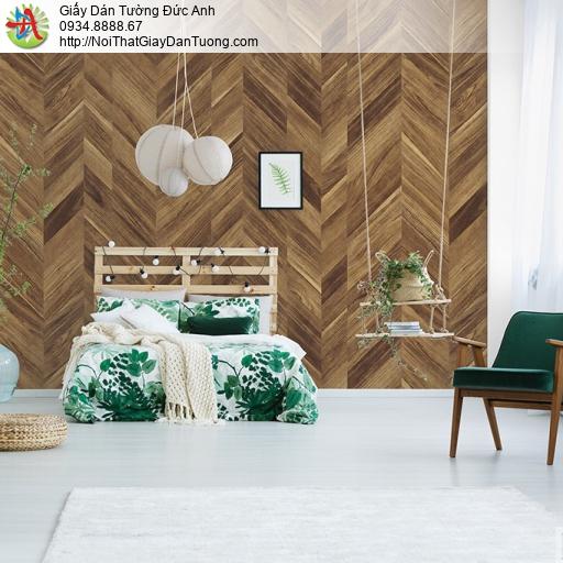 Albany 6815-3, Giấy dán tường giả gỗ đan xéo màu nâu