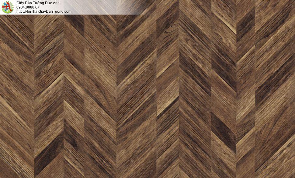 Albany 6815-4, Giấy dán tường giả gỗ đan xen xéo màu nâu đậm
