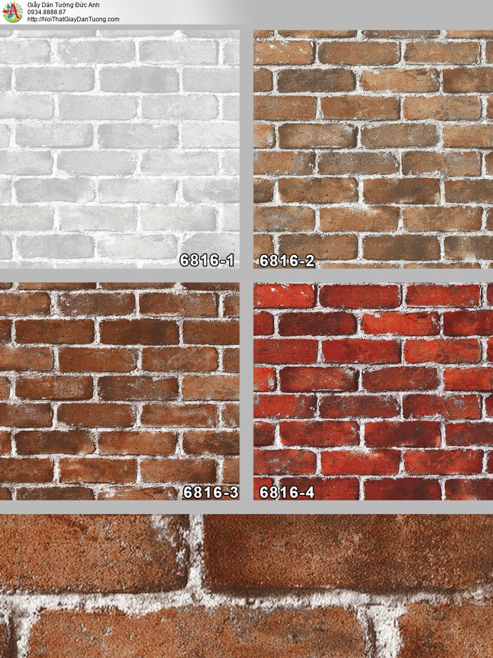 Albany 6816-1, Giấy dán tường giả gạch màu trắng, giấy giả gạch 3D hiện đại màu trắng xám