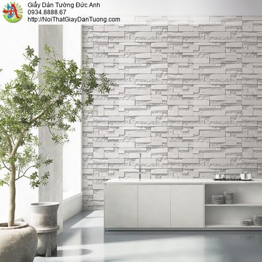Giấy dán tường cao cấp, giấy dán tường giả đá 3D màu trắng, Natural 87003-1