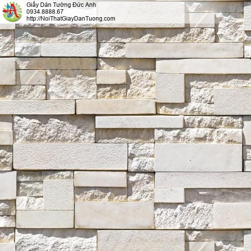 Giấy dán tường giả đá 3D cao cấp màu vàng kem, Natural 87003-2