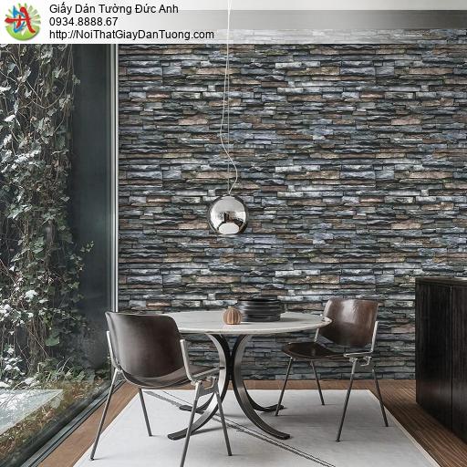 Giấy dán tường giả đá 3D màu đen cao cấp, giả đá màu xám tối Natural 87030-4