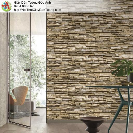 Giấy dán tường giả đá 3D màu nâu vàng, giấy dán tường cao cấp Hàn Quốc, Natural 87030-3