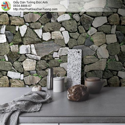 Giấy dán tường giả đá cao cấp, vách tường đá cũ rêu phong, những hòn đá to lớn Natural 87012-3