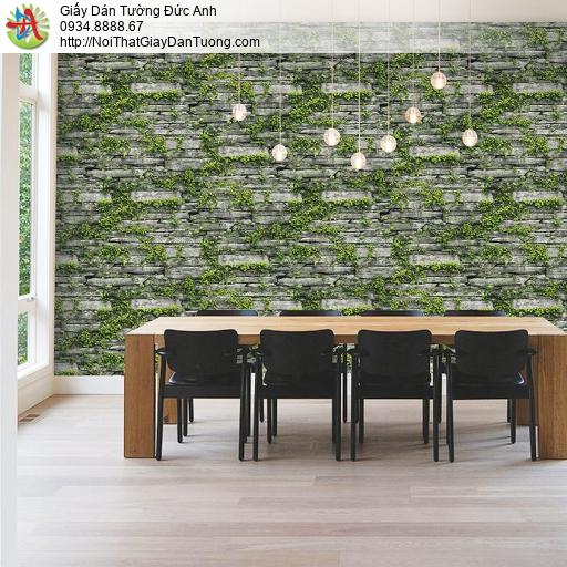Giấy dán tường giả đá, vách tường đá cỏ cây dây leo trên vách tường nghệ thuật cổ điển cũ kỹ, Natural 87029-1