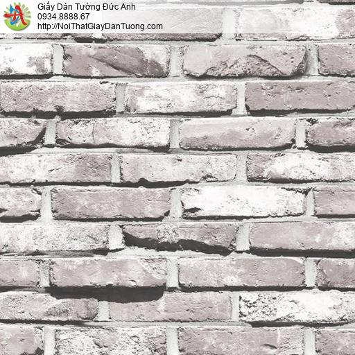 Giấy dán tường giả gạch 3D cao cấp, giấy gạch màu trắng xám 3D hiện đại, Natural 87033-1