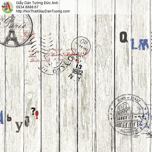 Giấy dán tường giả gỗ, những thanh gỗ màu trắng xám thẳng hàng song song Natural 87004-1