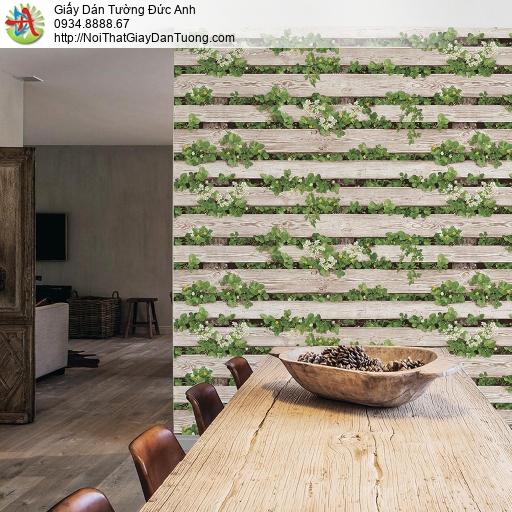 Giấy dán tường giả vách tường gỗ hoa lá cỏ mọc xen kẽ, giả gỗ 3D màu vàng kem, Natural 87020-1