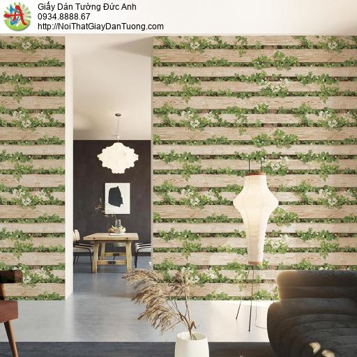 Vách tường giả gỗ 3D, hoa lá cỏ đan xen trong những thanh gỗ màu vàng nghệ thuật, Natural 87020-2