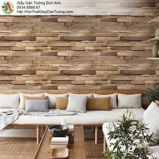 Giấy dán tường giả cỗ 3D màu vàng, giấy gỗ miếng ghép cao cấp Hàn Quốc, Natural 87035-1