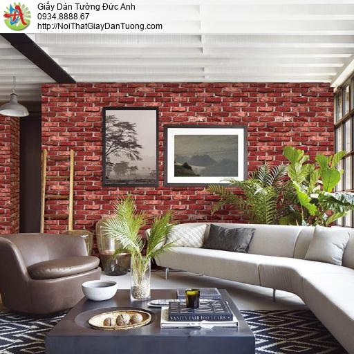 Giấy dán tường giả gạch 3D màu đỏ đậm, Giấy gạch cao cấp Hàn quốc màu đỏ tươi, Natural 87033-5