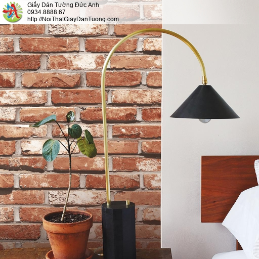 Giấy dán tường giả gạch màu đỏ thẫm, giấy giả gạch 3D cao cấp màu đỏ sẫm, Natural 87033-3