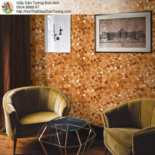 Giấy dán tường đồng hình đồng tiền xu cổ màu vàng đồng, những đồng xu cũ nghệ thuật màu cam, Natural 88420-1