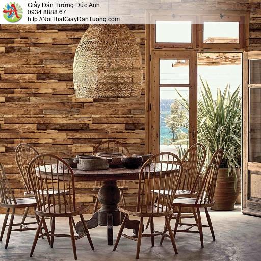 Giấy dán tường giả gỗ màu nâu, giây giả gỗ 3D cao cấp, Natural 87035-2