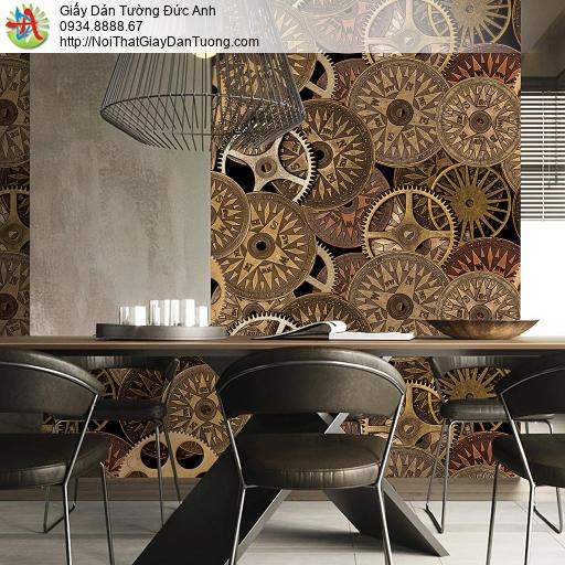Giấy dán tường hình bánh xe, phong cách nhà máy công xưởng sản xuất công nghiệp, bánh răng nghệ thuật, Natural 88419-1