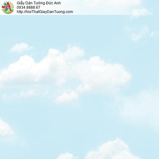 Giấy dán tường hình bầu trời xanh mây trắng, giấy dán trần phòng bé, trần phòng trẻ em Natural 88421-1