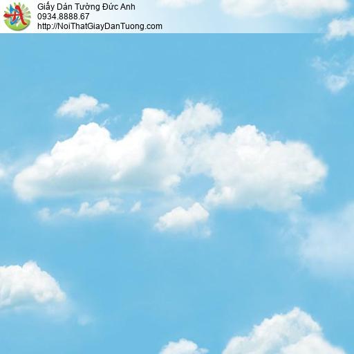 Giấy dán tường hình bầu trời xanh mây trắng, bầu trời màu xanh dương sky blue, Natural 88421-2